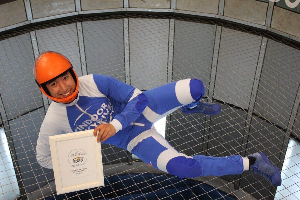 Tripadvisor Certificaat indoor skydive roosendaal